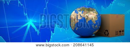 3D planet Earth and cardboard box against white background against stocks and shares