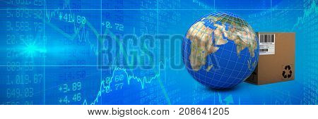 3D image of blue lines on planet Earth by box against stocks and shares