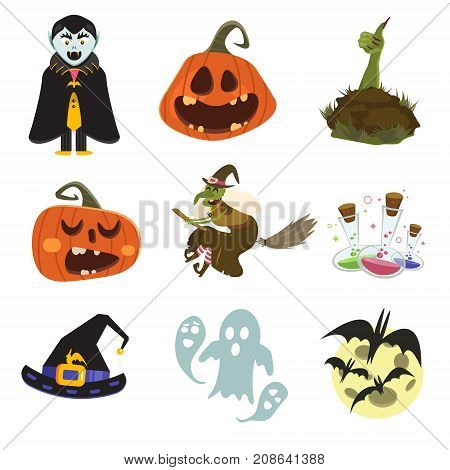 Happy Halloween scary elements collection. Vector holiday set of spooky cartoon illustrations. Trick or treat design characters.