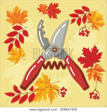 Secateurs of garden tool icon with autumn leaves. Vector Isolated autumn agricultural illustration.