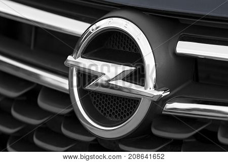 Zamosc Poland. 4 October 2017: Closeup of the Opel logo on a the front of the car. Opel is a German automobile manufacturer a subsidiary of the French automobile manufacturer Groupe PSA