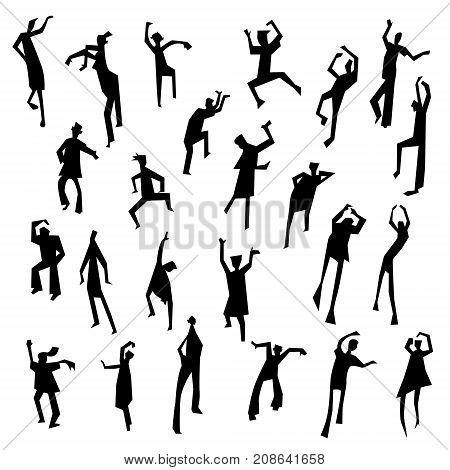 People figures in motion. Dancing people set. Cute black silhouettes of moving person. Vector illustration in simple incomplete artistic style. Design for nightclub and party invitation