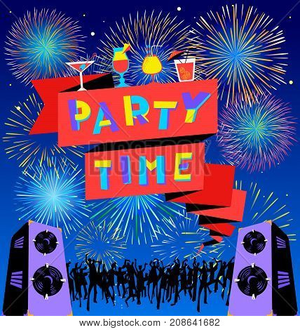 Party time lettering on banner. Disco club poster with loudspeackers and music dancind people crowd and fireworks. Vector illustration for party and nightclub invitation greeting cards vacation backgrounds cocktail party backdrops