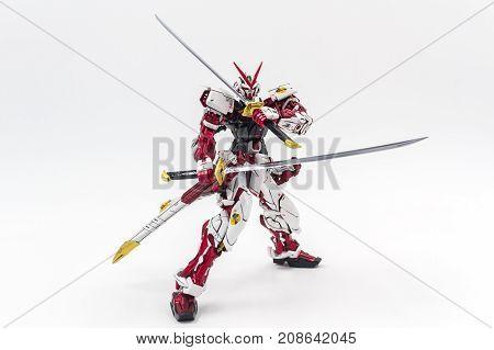 Bangkok Thailand - October 11 2017: Gundam model scale 1:100 produced by Bandai Japan. Gundam plastic model from anime tv series mobile suit gundam.
