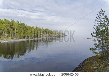 A Light Haze On The Ladoga Lake. Karelia, Russia.