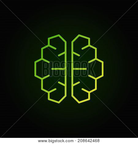 AI cyberbrain green icon - vector artificial intelligence brain concept outline symbol on dark background
