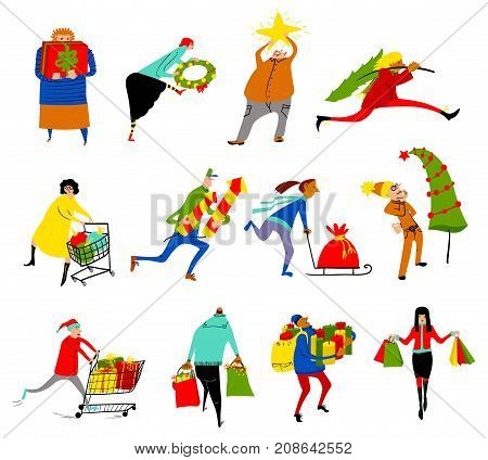 Shopping people set. Christmas sale collection. Group of people in rush time in winter holidays eve. Vector cartoon funny man and woman with shopping carts and bags with gifts. Seasonal lifestyle illustration