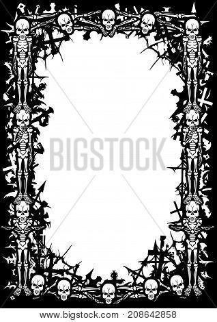 Black&white frame with skeletons cemetery crosses bones skulls spider webs and copy space.