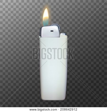 Realistic vector lighter. Mockup for design. 3d vector icon