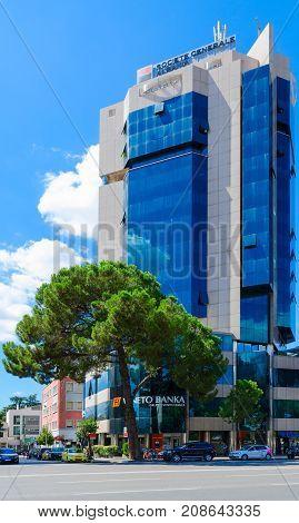 TIRANA ALBANIA - SEPTEMBER 6 2017: Complex of buildings Tirana Twin Towers Tirana Albania