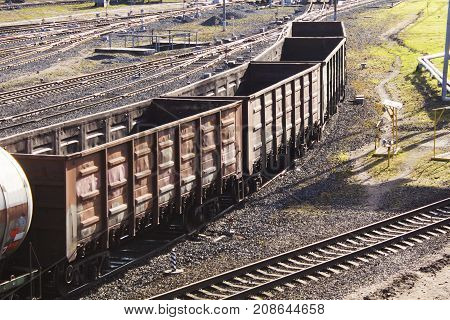 Many different of empty wagons. Railway transport