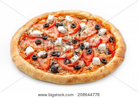 Delicious Fresh Pizza. Greek Pizza On A Lush Dough On A White Background. Fresh Italian Classic Orig