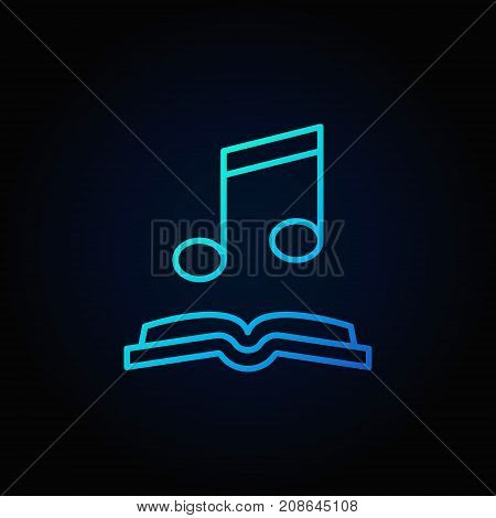 Musical note with open book blue icon. Vector audio-book concept outline symbol or logo element on dark background