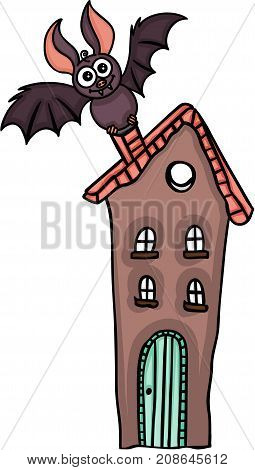 Scalable vectorial image representing a bat on top of the house, isolated on white.