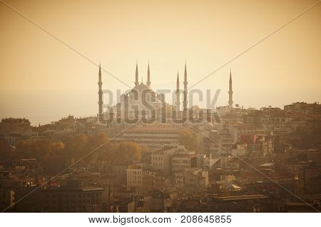 Sultanahmet mosque on sunset time, Istanbul, Turkey