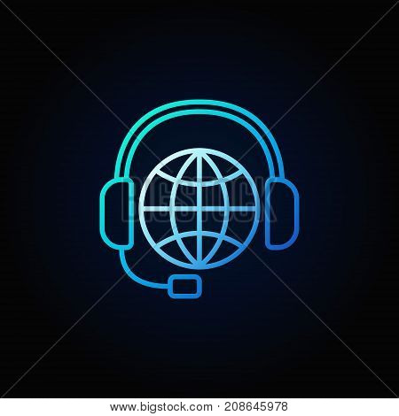 Global support line blue icon. Vector worldwide consultation and service symbol in thin line style on dark background