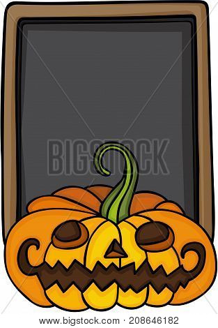 Scalable vectorial image representing a Halloween pumpkin and blackboard , isolated on white.