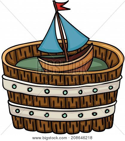 Scalable vectorial image representing a little boat in wooden tub, isolated on white.