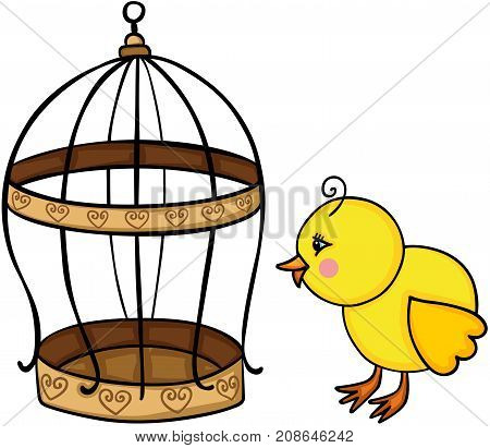 Scalable vectorial image representing a yellow chick and golden bird cage, isolated on white.