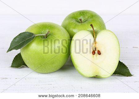 Apples Apple Slice Fruit Fruits Green On Wooden Board