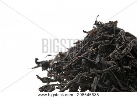 Heap of Iranian tea isolated on white background.