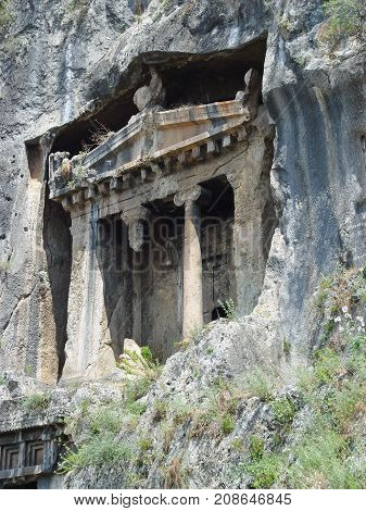 Ancient Lycian tomb of Amintas (4th century) near the city of Fethiye. Turkey