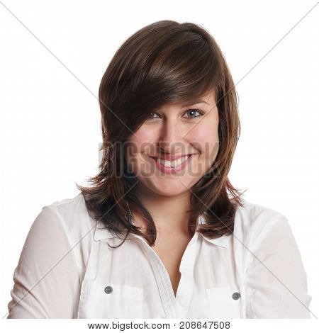 happy young woman with toothy smile, real person headshot isolated on white