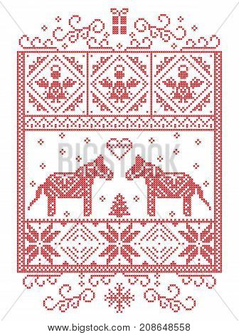 Elegant Christmas Scandinavian, Nordic style winter cross stitch pattern including snowflake, heart, Dala horse, Christmas tree, gift, angels, snow in red, white in decorative rectangle frame