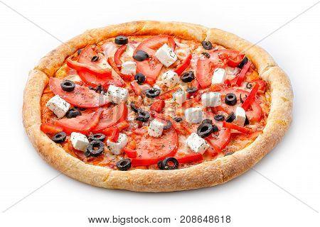 Delicious Fresh Pizza. Greek Pizza On A Lush Dough On A White Background. Fresh Italian Classic Orig
