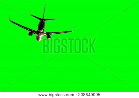 Isolated plane in front of green background