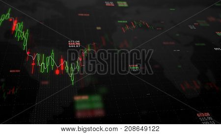 3d render. Statistic graph of stock market data and financial analysis. Stock market graph. Candle stick graph on dark background with growing charts. Big data on LED panel.