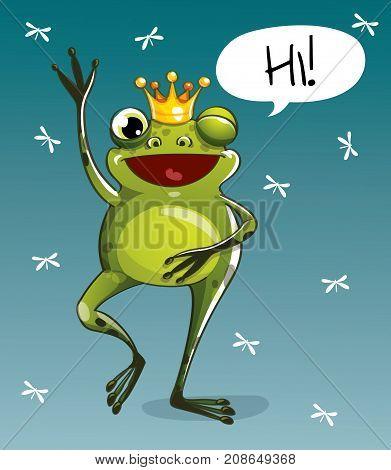 Vector illustration of cute cartoon hapy fun frog prince. Greeting card postcard. Hello.