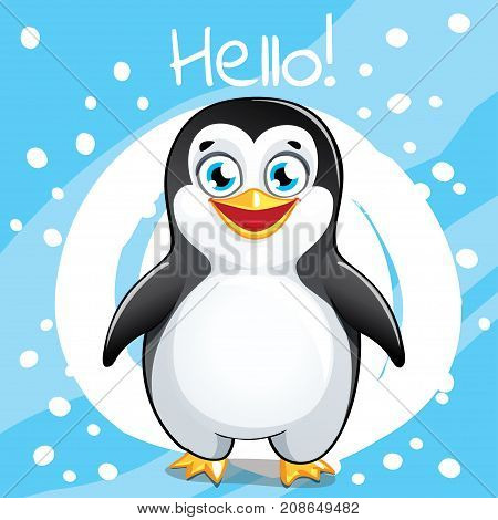 Vector illustration of cute cartoon happy fun penguin. Greeting card postcard. Hello.