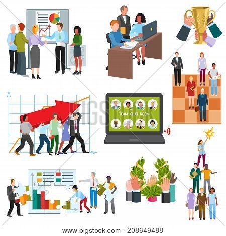 Business people groups sitting conferense room teamwork meeting candidates characters in queue for jobsearch interview vector illustration.. Work professional communication employee worker.