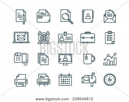 Business and office work. Documents, paperwork. Businessman. Thin line web icon set. Outline icons collection. Vector illustration.
