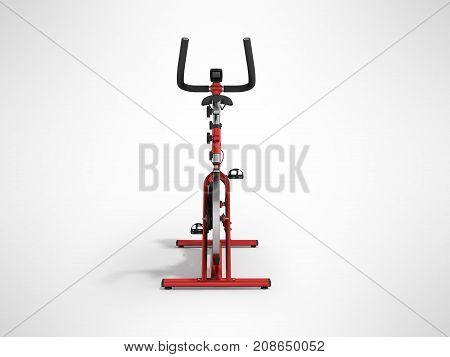 A Sports Bike Home Red In Front 3D Render On A Gray Background