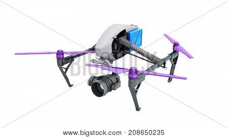 Film Concept Generic Design Remote Control Air Drone Flying 3D Rendering On White No Shadow