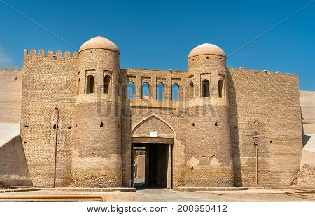 Entrance Gate in the ancient city wall of Ichan Kala. Khiva, a UNESCO world heritage site in Uzbekistan
