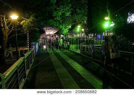 Yalta, Crimea - 11 July, Night walk in the park, 11 July, 2017. Night surroundings and adjoining territories of hotel Yalta Intourist.