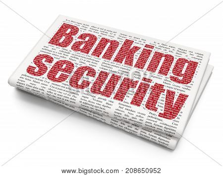 Privacy concept: Pixelated red text Banking Security on Newspaper background, 3D rendering