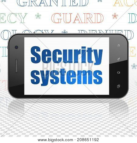 Privacy concept: Smartphone with  blue text Security Systems on display,  Tag Cloud background, 3D rendering