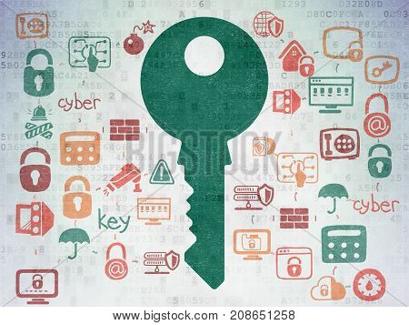 Privacy concept: Painted green Key icon on Digital Data Paper background with Scheme Of Hand Drawn Security Icons
