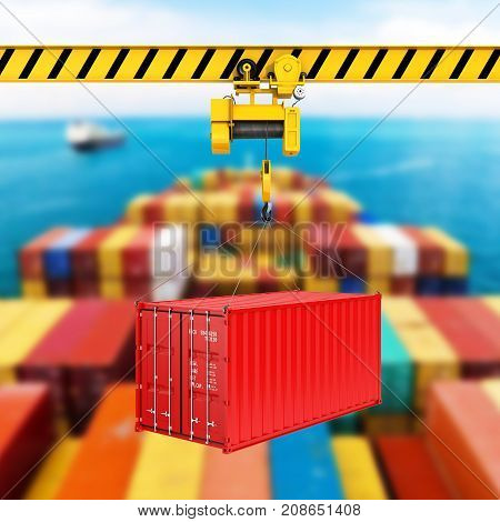 Cargo Shipping Container Loading Concept The Crane Lifts The Container On Storage Area Background 3D