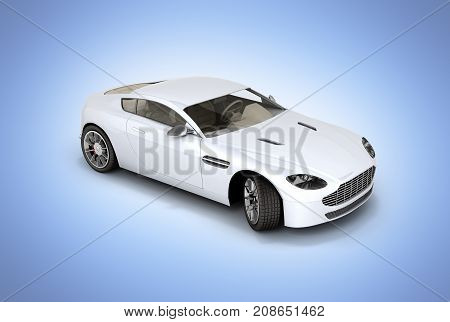 Sport Car Vehicle Isolated On Blue Gradient Background 3D
