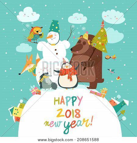 Happy animals celebrating Christmas. Vector greeting card