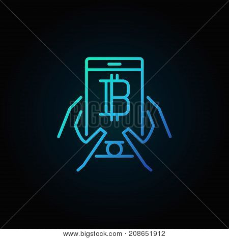Smartphone with bitcoin in hands blue concept linear icon or design element on dark background