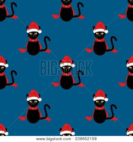 Black Cat Santa Hat Seamless on Indigo Blue Background. Vector Illustration.