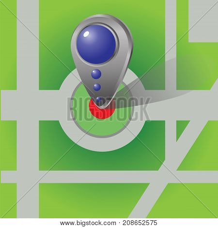 Icon of Map Marker. Blue Pointer. Sign Button