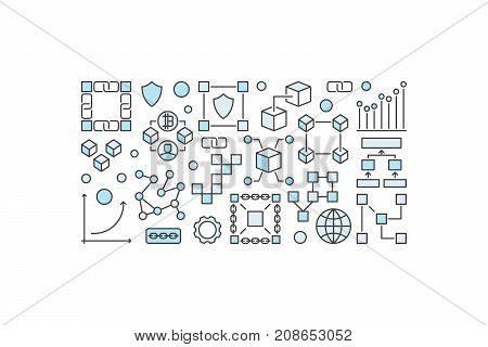 Blockchain modern horizontal banner or illustration on white background
