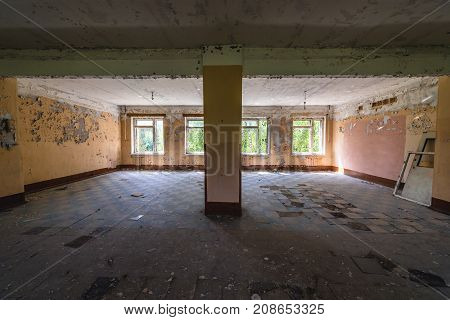 Interior of former military barrack of abandoned Soviet military town Skrunda in Latvia